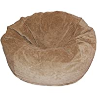 Ahh! Products Tan Velvet Microsuede Washable Large Bean Bag Chair Plush