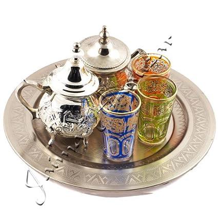 Juego de Té Arabe- Tetera - Bandeja 30 cm - 3 Vasos - Azucarero (
