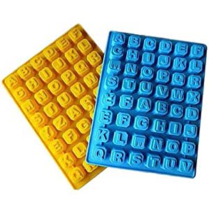 JIAO- 48 Grid of Letters Ice Mould Plastic Random Color(11.8x7x0.92 inch)