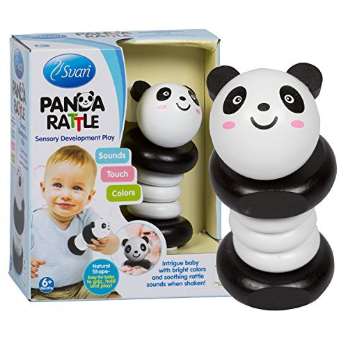 Wooden Panda Rattle by Svan - Solid Wood Clutching and Shake