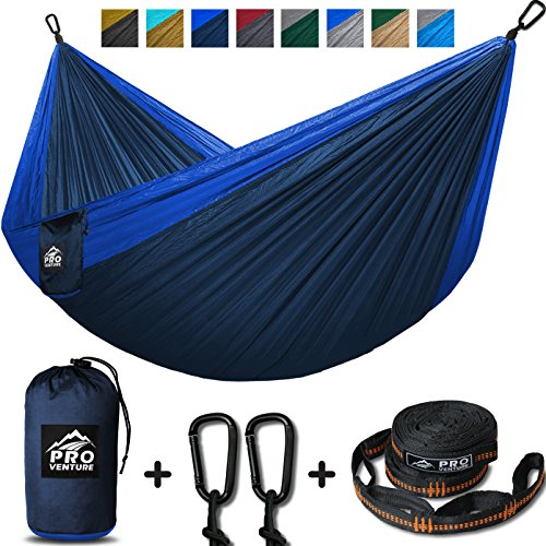 Double Camping Hammock - XL Hammocks with Premium Straps & Carabiners - Lightweight & Compact Parachute Nylon - Backpacker Approved & Ready for Adventure! 10.5ft x 6.5ft