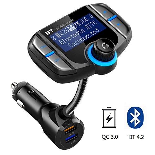 (Latest Version) In-Car Bluetooth FM Transmitter, LINNNZI Wireless Radio Transmitter Adapter Car Kit, 1.8 Inch Display, Quick Charge 3.0/Smart 2.4A Dual USB Car Charger, AUX Input/Output, TF Card Slot