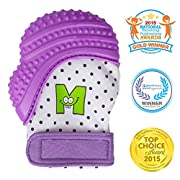 Munch Mitt Teething Mitten is Teether That Stays on Baby's Hand for Self-Soothing Pain Relief, Purple Shimmer