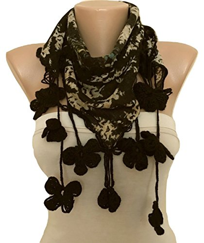 Hand Crocheted Scarf (Women Scarf with Hand Crocheted Flowers Edge)