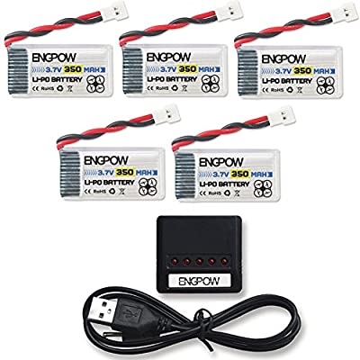 ENGPOW for TOZO Q2020 Hubsan X4 RC Drone battery X5 Charger with 5pcs 3.7v 350mAh LiPo Battery for Hubsan X4 H107C H107L HolyStone HS170 HS170C Walkera Super CP Genius RC Quadcopter