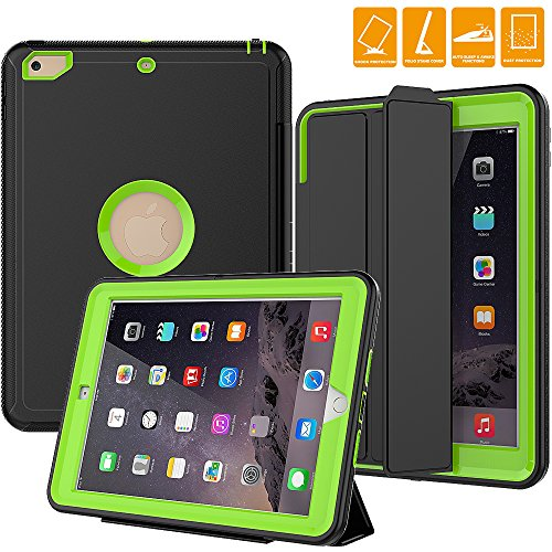 ipad 5th generation case, SEYMAC Smart Case [Protective Cover] with Auto Sleep Wake Function, Three Layer Drop Protection Rugged /Heavy Duty Case for 2017 New iPad (Green)