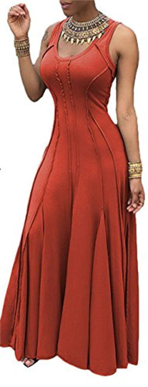Imily Bela Women's Sleeveless Pleated Swing Maxi Cocktail Dress Floor Length