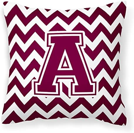 Caroline s Treasures CJ1051-APW1414 Letter A Chevron Maroon and White Fabric Decorative Pillow, 14 H x 14 W, Multicolor