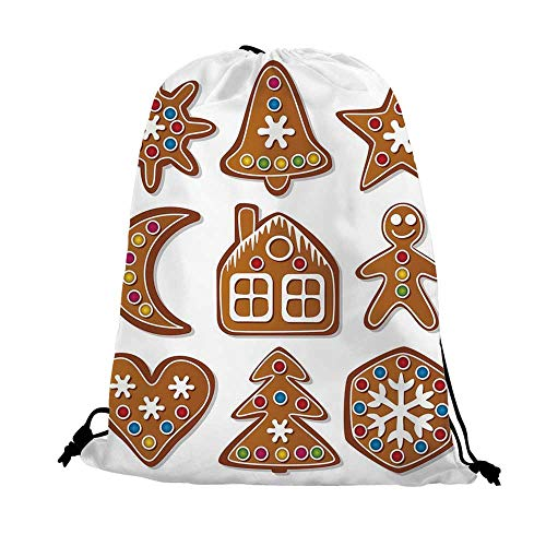 Gingerbread Man Nice Drawstring Bag,Set of Graphic Gingerbread Sugar Biscuits with Colorful Dots and Bonbons For traveling,17.7