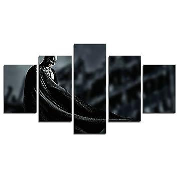 Leyruk 5 Stück Batman Superheld Christian Bale Batman Dark Knight Malerei  Für Wohnzimmer Wohnkultur Leinwand Kunst