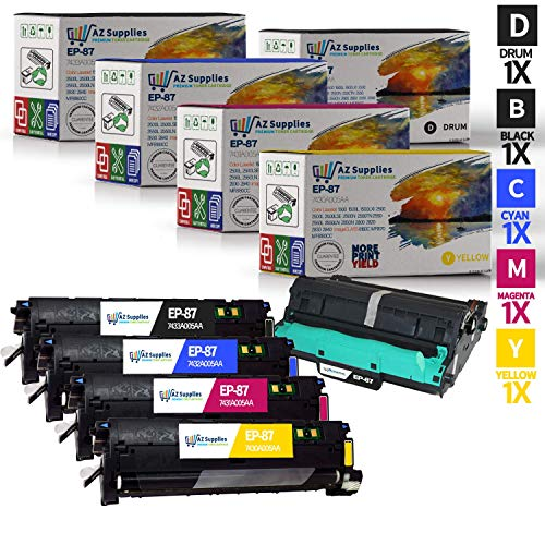 AZ Supplies Remanufactured Replacement Toner Cartridge for Canon EP-87 Toner Set + Drum for use in Canon MF8170c, Canon MF8180c, Canon 8180c, Canon CLBP 2410 (KCMY, 4-Pack + Drum)