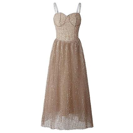 4359f6edd3e4 Elegante vestido de dama de las señoras Mujeres cariño sin mangas ...