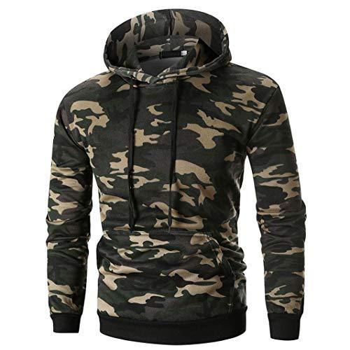 zahuihuiM Nouveau Camouflage Hoodie Hommes Hiver Casual Lache Tops Blouse  Manches Longues avec Poche Outwear Vert