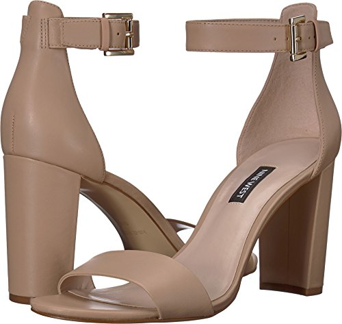 (Nine West Women's Nora Block Heel Sandal Light Natural Leather 2 8.5 M US)