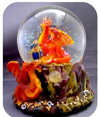 "Redish/Orange Treasure Dragon Snow Globe - Sculptured Resin Water Ball Music Box 5 3/4"" High"