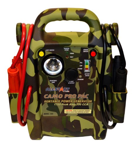 Allstart 555 Pro Pac Jump Starter [Camo] with AC Inverter, Multi-Position Light, 4 Gauge Cables, Copper Clamps, Battery Status Indicator. Automotive Accessories