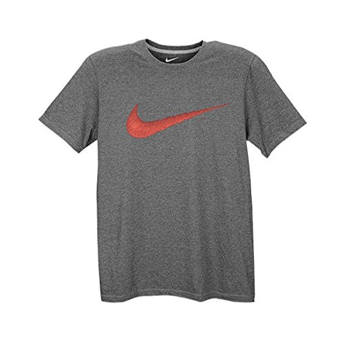 NIKE MENS TEE HANGTAG SWOOSH CHARCOAL HEATHR UNIVERSITY RED SIZE XL