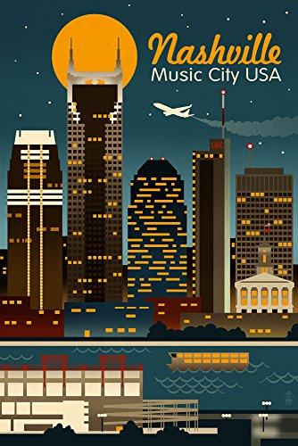 Nashville Tn Framed (Nashville, Tennesseee - Retro Skyline (12x18 Art Print, Wall Decor Travel Poster))