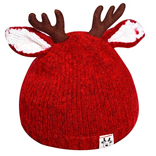 EDITHA Warm Beanie Cute Reindeer Antlers Baby Hat Crochet Knitted Hat for Toddler Girls Boys Red