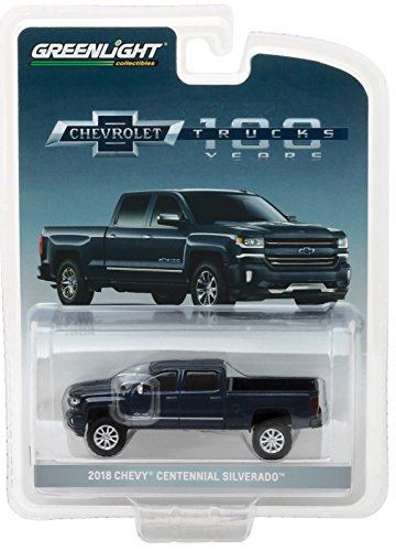 Metallic Car Diecast Blue (2018 Chevrolet Silverado Centennial Edition Metallic Blue Hobby Exclusive 1/64 Diecast Model Car by Greenlight 29917)