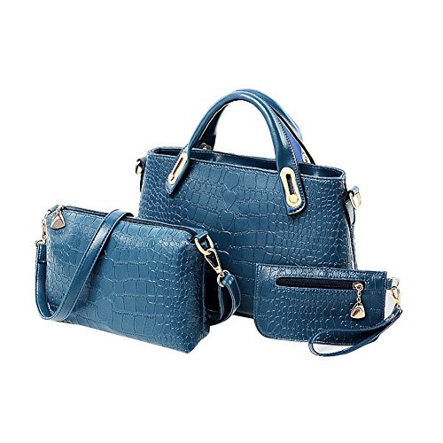 Women Pu Sets Handbag Handbag purse Hrph Bag shoulder 3 Blue Ladies Leather Bags Messenger Handbags Design FqRwWdg