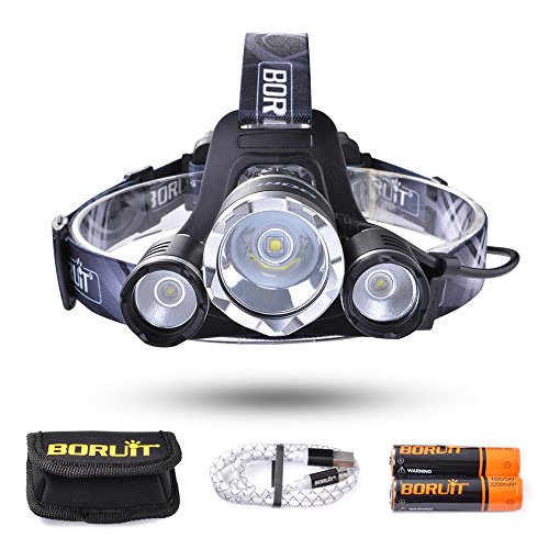 BORUiT Leo 21 LED Headlamp,4 Modes Headlight, 6000 lumen, As 4400mAh Power Bank, for Running, Camping, Hiking, 2 PCS 18650 Batteries and Cable Included (Black)
