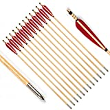PG1ARCHERY Archery Wooden Arrows, 12pcs Traditional Target Hunting Arrows with 5' Red Turkey Feathers Fletching for Recurve & Compound Bow Parabolic Feather