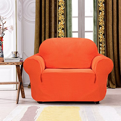 Subrtex 1-Piece Spandex Stretch Sofa Slipcover (Chair, Orange)