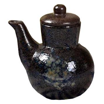 Vajilla Botella de cerámica saludable Vinagre Pot Dispensador de salsa de soja Liquid Cruet (Negro