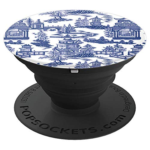 Blue Pagoda Chinoiserie Pattern - PopSockets Grip and Stand for Phones and Tablets
