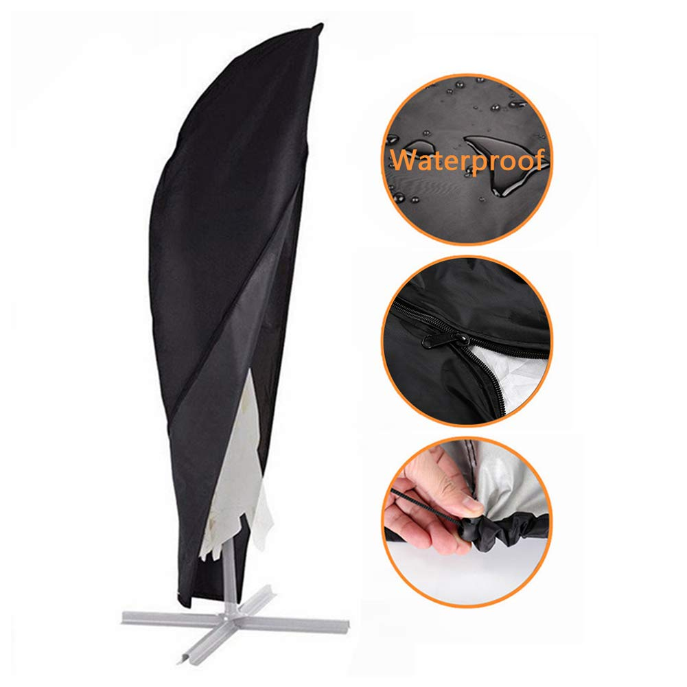 Garden Parasol Cover Cantilever Umbrella Cover Waterpoof Extra Large for Outdoor Garden Patio Umbrella with Zip and Drawstring - Black F Fellie Cover