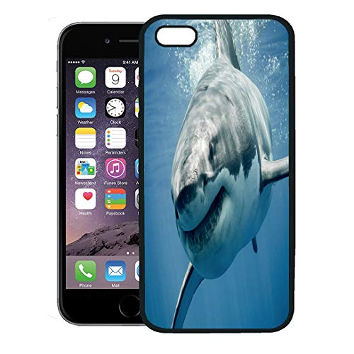 Semtomn Phone Case for iPhone 8 Plus case,Blue Threat Great White Shark Smiling Predator Smile Face Sea Teeth iPhone 7 Plus case Cover,Black