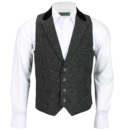 XPOSED Mens Tweed Wool Waistcoat Vintage Velvet Collared Smart Casual Vest Brown Grey[CWC-Leon-Grey,UK 40 EU 50,Charcoal (Wool Tweed Coat)