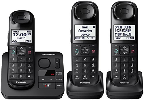 Dect Paging Cordless Phones - Panasonic KX-TGL433B / KX-TG3683B Dect 6.0 3-Handset Landline Telephone, Black (Renewed)