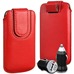 Online-Gadgets UK - Alcatel One Touch S'Pop Cuero superior de la PU del caso del tirón de la bolsa con pestaña cierre magnético y USB cargador de coche Bullet - Rojo