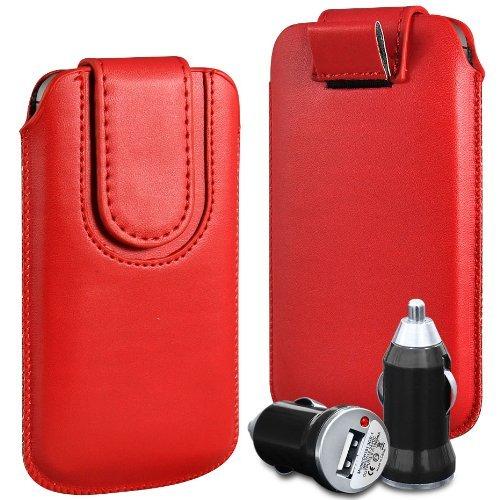 N4U Online - Apple Iphone 3GS haut de gamme en cuir PU Pull Retourner Tab Housse Couverture avec sangle fermeture magnétique et chargeur de voiture USB Bullet - Rouge