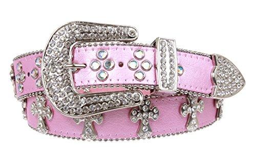 Decoration Genuine Leather Belt - Western Rhinestone Cross Decoration Genuine Leather Belt Size: S/M - 34 Color: Pink