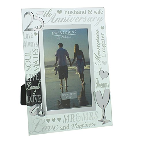 Oaktree Gifts 25th Anniversary Mirrored Photo Frame 4 x 6 ()