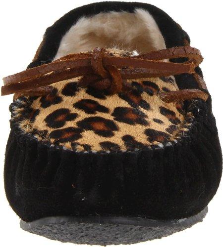 Minnetonka Kvinna Leopard Tiskt Toffel Mockasin Svart