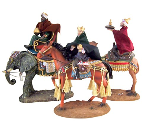 Christmas Nativity Three Wise Men on Horse Camel and Elephant Statue Set, 12 Inch, 3 Piece Set by San Francis Imports