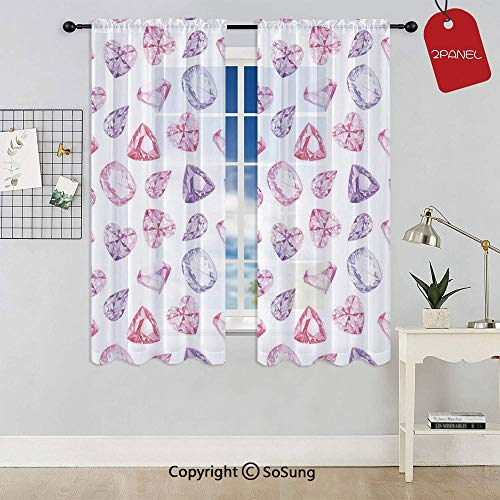 - Amethyst Heart and Triangle Shaped Diamonds Hanging Digital Prints Art Decorative Rod Pocket Sheer Voile Window Curtain Panels for Kids Room,Kitchen,Living Room & Bedroom,2 Panels,Each 42x45 Inch,Pin