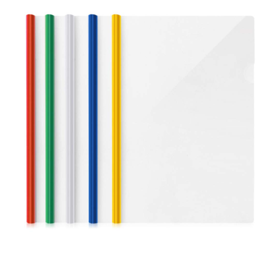 Rrunzfon 15MM Plastic File Folder Sliding Bar Report Covers Transparent Resume Presentation Display File Folders for A4 Size Paper 75 Sheet Capacity (Random Color)-10 PCS Stationery & Office Supplies