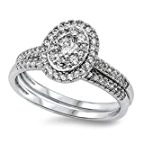 Sterling Silver 12mm Clear CZ Cluster Ring With CZ Band Engagement Ring