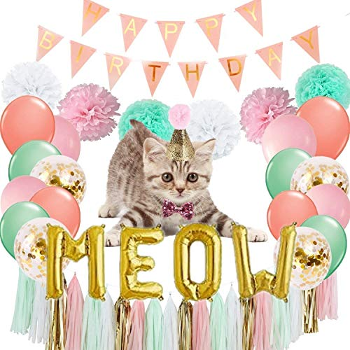 Pink and Gold Cat Birthday Party Supplies - Gold Meow Letters Balloons Banner, Happy Birthday Banner, 20pcs Latex Balloons, 9 Tissue Pom Poms, 20 Tassels, Glitter Birthday Bow Tie and Hat for Cat Pet Birthday Decorations