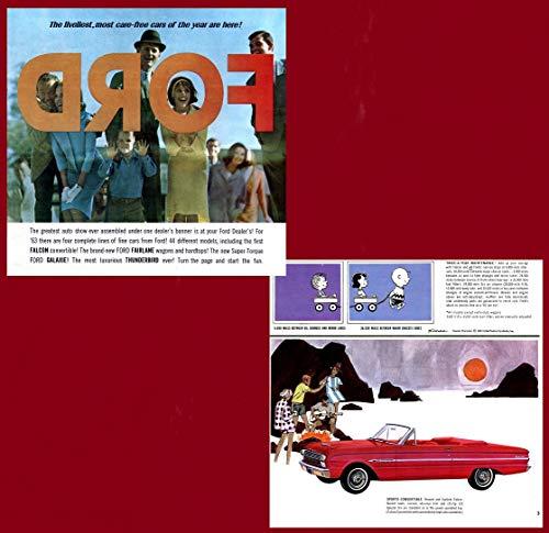 1963 FORD FULL-LINE: FALCON, FALCON WAGON, FAIRLANE, FAIRLANE WAGON, GALAXIE, GALAXIE 500/XL, GALAXIE WAGON & THUNDERBIRD VINTAGE COLOR SALES BROCGURE - USA - FABULOUS ORIGINAL !!