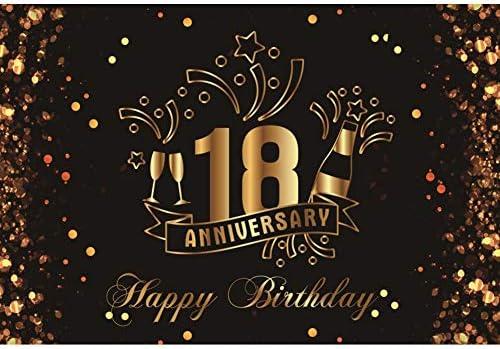 Cassisy 3x2m Vinilo Cumpleaños Telon de Fondo 18 Feliz cumpleaños Aniversario Banner Champán Lentejuelas Fondos para Fotografia Party Infantil Photo ...