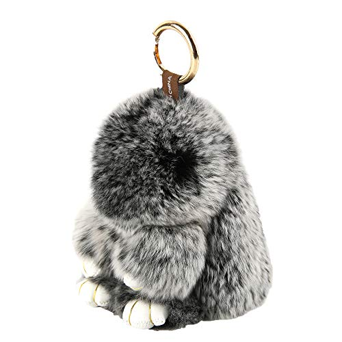 YISEVEN Stuffed Bunny Keychain Toy - Soft and Fuzzy Large Stitch Plush Rabbit Fur Key Chain - Cute Fluffy Bunnies Floppy Furry Animal Easter Basket Stuffers Gifts Women Bag Charm Car Pendant - Black