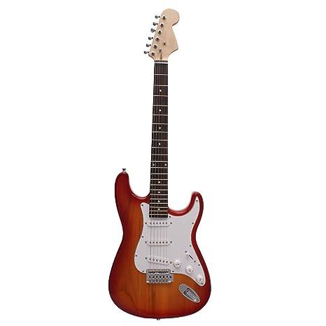 NUYI-4 Guitarra eléctrica Genuina ST Serie Guitarra Color del Atardecer práctica para Principiantes Tocando