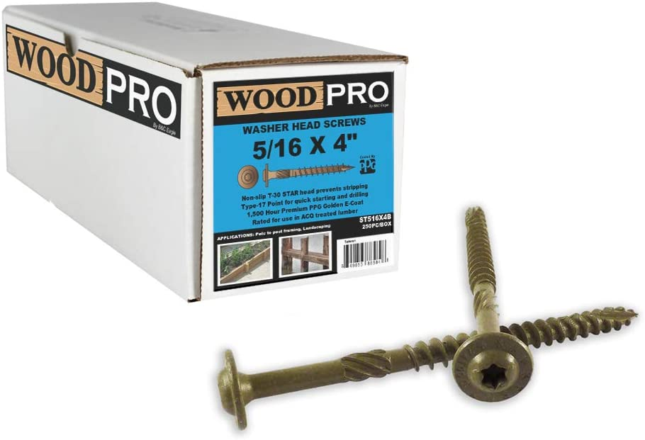 250-Pack WoodPro Fasteners ST516X4B 5//16-Inch by 4-Inch Length Round Washer Head Exterior Wood Screws