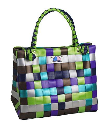 Mike & Mary Foldable Shopping Bags Basket Braided Plastic Handbag Fashion Washable Grocery Bag (forest)